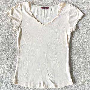 H&M L.O.G.G. Yellow Cotton V-Neck T-Shirt
